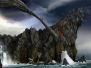 fantasy dragons bridges gothic fantasy art Wallpaper.