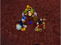 Sora, Donald, and Goofy discover a Trinity point.